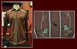camisa chica western marron