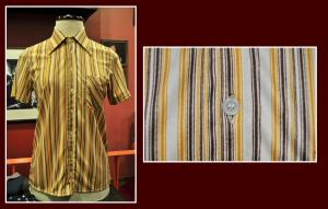 camisa chico raya vertical blanco amarillo marron