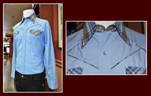 camisa western azul bolso cuadro